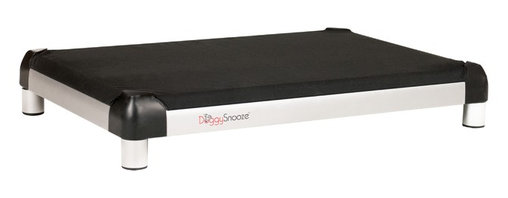 DoggySnooze - snoozePad - This luxurious elevated dog bed features clean lines that will complement your contemporary decor — and it's even chew resistant! Use this bed indoors or out as a favorite resting spot for your four-legged friend — or buy two. Made in the USA and available in three sizes, with optional black anodized frame, long legs and memory foam.