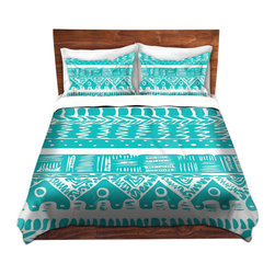 DiaNoche Designs - Duvet Cover Twill by Organic Saturation - Boho Blue Aztec - Lightweight and soft brushed twill Duvet Cover sizes Twin, Queen, King.  SHAMS NOT INCLUDED.  This duvet is designed to wash upon arrival for maximum softness.   Each duvet starts by looming the fabric and cutting to the size ordered.  The Image is printed and your Duvet Cover is meticulously sewn together with ties in each corner and a concealed zip closure.  All in the USA!!  Poly top with a Cotton Poly underside.  Dye Sublimation printing permanently adheres the ink to the material for long life and durability. Printed top, cream colored bottom, Machine Washable, Product may vary slightly from image.