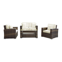 Modway Furniture - Modway Carmel 4 Piece Sofa Set in Brown White - 4 Piece Sofa Set in Brown White belongs to Carmel Collection by Modway Sojourn to a conducive atmosphere of proper proportions with this sleek Carmel outdoor set. Vividly express yourself as you attune to your surroundings and develop positive rapport among friends and family. Appropriate times begin now with a modern touch of adventure. Set Includes: Four - Carmel Outdoor Wicker Patio Throw Pillows One - Carmel Outdoor Wicker Patio Coffee Table One - Carmel Outdoor Wicker Patio Loveseat Two - Carmel Outdoor Wicker Patio Armchairs Throw Pillow (4), Coffee Table (1) , Loveseat (1), Arm Chair (2)