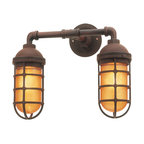Barn Light Double Market Sconce - The vintage industrial style of this wall sconce makes for a great bathroom fixture — reminiscent of an old public pool.