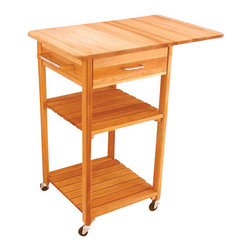 Catskill Craftsmen - Catskill Craftsmen Drop Leaf Butcher Block Kitchen Cart in Natural Finish - Catskill Craftsmen - Kitchen Carts - 7227 - Add convenience and warmth to your kitchen with the Catskill Craftsmen Drop Leaf Cart. The wheels provide great mobility and make this an easy addition to your kitchen. So cook up a storm with the Drop Leaf Cart.
