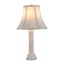 Renovators Supply - Table Lamps White Alabaster Table Lamp Beige Shade 22 H x 12 W | 52901 - Table Lamps: This Pillar Table lamp crafted out of Alabaster quarried and hand-crafted in Spain measures 22 in. high and 12 in. wide with a 4 1/4 in. diameter base. Beige shade measures 12 in. wide x 9 1/2 in. high with a top diameter of 6 1/4 in.
