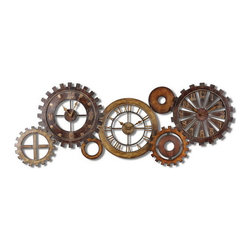 Uttermost - Uttermost 06788  Spare Parts Wall Clock - This unusual grouping of clocks is made of hand forged metal finished in a combination of dark chestnut brown, heavily antiqued gold and silver with burnished details. quartz movement.