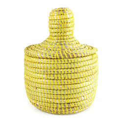 African Senegalese Lidded Mini Storage Basket, Yellow - This basket would be perfect for storing all the TV remotes.