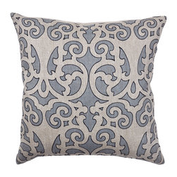 Ferah Slate Blue Pillow - Beautifully handmade and hand woven, each pillow is made with a quality fill of 95% feather and 5% down. The Villa Home collection offers a variety of colors, textures and accents that will add a feeling of luxury to your home. The Slate pillow is 100% Linen Herringbone.
