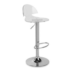 Lumisource - Venti Clear Acrylic Barstool - Sleek and stylish, chrome bar stool has a clear acrylic seat that will add contemporary flair to any bar or counter. The seat rotates 360 degrees, and the chrome stem includes a footrest for your comfort.