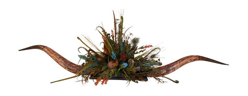 Giant Antique Turquoise Horn Centerpiece - Gorgeous antique steerhorns with turquoise florals and peacock feathers