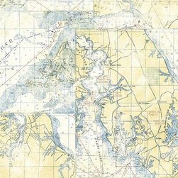 White Nautical Map Wallpaper - One of my friends has this amazing half bath with nautical chart wallpaper very similar to this design.