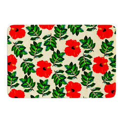 """KESS InHouse - Sreetama Ray """"No More Peonies"""" Red Green Memory Foam Bath Mat (24"""" x 36"""") - These super absorbent bath mats will add comfort and style to your bathroom. These memory foam mats will feel like you are in a spa every time you step out of the shower. Available in two sizes, 17"""" x 24"""" and 24"""" x 36"""", with a .5"""" thickness and non skid backing, these will fit every style of bathroom. Add comfort like never before in front of your vanity, sink, bathtub, shower or even laundry room. Machine wash cold, gentle cycle, tumble dry low or lay flat to dry. Printed on single side."""