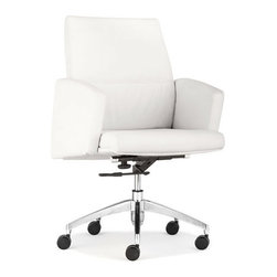 ZUO - Chieftain Low Back Office Chair - White - Imposing on its rolling steel frame, the Chieftain Office Chair will take you to the top. Go with the black for power or white for elegance. Comes with a high or low back.