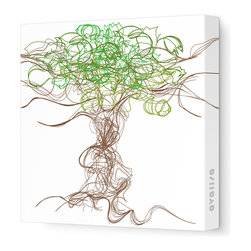 """Avalisa - Imagination - Branches Stretched Wall Art, 18"""" x 18"""", Green - Simply add one piece of art to your home and watch how your personality starts to play out on the walls. The lively lines and swirls of these abstract branches will bring great energy and complement many home design styles. And with a stretched canvas, you won't even have to worry about framing!"""