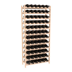 72 Bottle Stackable Wine Rack in Pine - Four kits of wine racks for sale prices less than three of our 18 bottle Stackables! This rack gives you the ability to store 6 full cases of wine in one spot. Strong wooden dowels allow you to add more units as you need them. These DIY wine racks are perfect for young collections and expert connoisseurs.