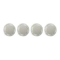 Set of Four Etched Mirrored Charges - This intricately designed sumptuous country chic mirrored charges is a perfect piece of home decor to accentuate your room with glamour and shine. This awesome set of art-pieces with an outstanding design will never go unnoticed. These decorative charges have a perfectly smooth surface because the image is etched into the back and, thanks to their transparency, these mirrors will blend in with the support upon which they have been placed. It is made from synthetic mirror. These four attractive decorative mirrors have a hanging fixture on the back. Striking decorative mirrors that enhances the wall decor, catching and reflecting light and color. This is a must add outstanding home decor to your house.