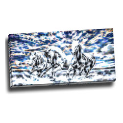 Galloping Horses - Animal Art Canvas, 32W x 16H, 1 Panel - This animal artwork is a gallery wrapped canvas piece. This design is printed in high quality fade resistant ink on premium quality cotton canvas.