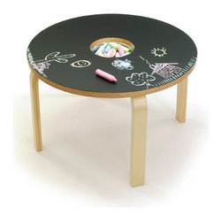 Woody Chalkboard Table - Creating is such an essential aspect of childhood. I love the sleek design of this chalkboard play table, especially having the chalk stored right there in the middle. Makes for easy sharing all around.