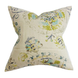 "The Pillow Collection - Riah Floral Pillow Turquoise - This charming accent pillow brings timeless elegance to your living space. Decorated with a delicate floral pattern in pretty hues of olive green, turquoise blue, purple, brown and gray on a natural background. Quintessential for indoor styling, this 18"" pillow is made from 100% high-quality linen material. Hidden zipper closure for easy cover removal.  Knife edge finish on all four sides.  Reversible pillow with the same fabric on the back side.  Spot cleaning suggested."
