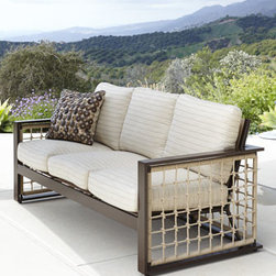 Horchow - Marina Outdoor Sofa - Warmer weather means outdoor living, and outdoor living is comfortable and cozy with this coastal, casual outdoor sofa. Hand-welded wrought-aluminum frame with rust-resistant powder coating and rope detailing woven of Sunbrella® fibers. Cushions...