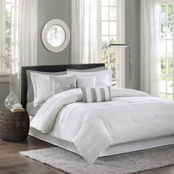 Madison Park - Madison Park Sheridan 7-Piece Comforter Set - The Madison Park Sheridan Collection adds dimension with the use of fabric manipulation. This unique polyester jacquard fabric has a wrinkle feature that is used in a striped fashion horizontally across the comforter and shams.