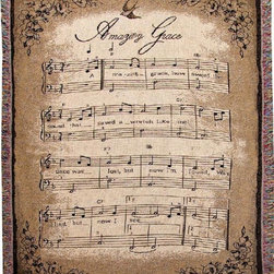 Manual - How Sweet the Sound Sheet Music Tapestry Throw Blanket 50 Inch x 60 Inch - This multicolored woven tapestry throw blanket is a wonderful addition to any home. Made of cotton, the blanket measures 50 inches wide, 60 inches long, and has approximately 1 1/2 inches of fringe around the border. The blanket features a print of sheet music to 'Amazing Grace'. Care instructions are to machine wash in cold water on a delicate cycle, tumble dry on low heat, wash with dark colors separately, and do not bleach. This comfy blanket makes a great gift for friends and family.