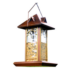 H Potter - Hip Roof Bird Feeder - Raise the roof on backyard style, and provide a hip haven for your fair-feathered friends. This homey hanging feeder features glass windows with brass frames, and a coppery-peaked roof and wide deck. It's a perch with panache.