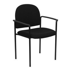 Flash Furniture - Flash Furniture Reception Black Fabric Metal Stack Dining Arm Chair - Complete your office or reception area with this stacking side chair by Flash Furniture. The comfortably padded seat and back are provided to make your guests feel at ease while waiting. The steel frame of this chair is strong enough to last for years of use. [BT-516-1-BK-GG] Operating out of Etowah GA (with a warehouse in Reno NV) Flash Furniture specializes in bold upbeat décor for home office or commercial spaces. With a wide array of colors and fashions to fit your budget Flash Furniture accommodates your every need. Features include Stackable Guest Chair Black Fabric Upholstery 2.5'' Thick Padded Seat Two Steel Cross Brace Support Bars underneath Seat Integrated Curved Nylon Arms .75'' Leg Diameter Steel Tubular Steel Frame Black Powder Coated Finish CA117 Fire Retardant Foam. Specifications Seat Size: 19W x 18.5D Back Size: 18.5W x 14.25H Arm Height From Floor: 25.5H Seat Height: 19H Finish: Black Powder Coat Color: Black Upholstery: Black Fabric.