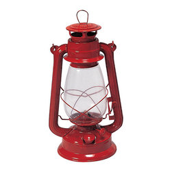 Stansport Hurricane High Oil Lantern, Red - Light your tablescape with classic red lanterns for that classic candlelit glow.