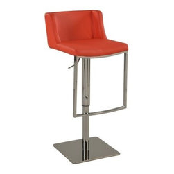 Chintaly Kerra Gas Lift Adjustable Bar Stool - Take in the stunning modern design of the Chintaly Kerra Gas Lift Adjustable Bar Stool that is more than comfortable. This fine stool has a cherry red leather upholstery and chrome-finished metal frame. Just pull the handy lever to adjust the seat height to fit your comfort. About Chintaly Imports Based in Farmingdale New York Chintaly Imports has been supplying the furniture industry with quality products since 1997. From its humble beginning with a small assortment of casual dining tables and chairs Chintaly Imports has grown to become a full-range supplier of curios computer desks accent pieces occasional table barstools pub sets upholstery groups and bedroom sets. This assortment of products includes many high-styled contemporary and traditionally-styled items. Chintaly Imports takes pride in the fact that many of its products offer the innovative look style and quality which are offered with other suppliers at much higher prices. Currently Chintaly Imports products appeal to a broad customer base which encompasses many single store operations along with numerous top 100 dealers. Chintaly Imports showrooms are located in High Point North Carolina and Las Vegas Nevada.