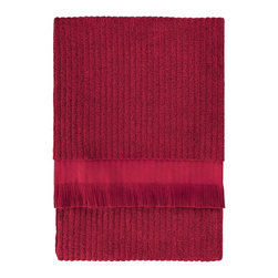 Nine Space - Ribbed Bath Sheet, Cranberry - Lend a luxurious look to your bath with this everyday essential that's anything but basic. Jacquard weaving patterns both sides of this bath sheet with a subtle ribbed design for great texture. Made from pure Turkish cotton and finished with hand-tied fringe on both ends.