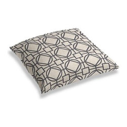 Charcoal & Natural Modern Trellis Custom Floor Pillow - A couch overflowing with friends is a great problem to have.  But don't just sit there: grab a Simple Floor Pillow.  Pile em up for maximum snugging or set around the coffee table for a casual dinner party. We love it in this teal geometric trellis on thick natural cotton. A bold statement of modern meets rustic.