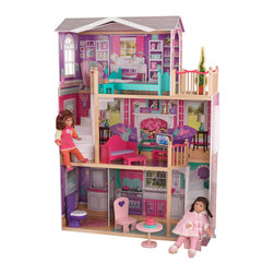 "KidKraft - Elegant 18"" Doll Manor, Colorful Artwork by Kidkraft - The wait is over! With our Elegant 18� Doll Manor, young girls finally have a dollhouse big enough for their favorite 18� dolls. This sturdy house is full of fun details and beautiful artwork. It stands at over four feet wide and five feet tall, towering over every other dollhouse we�ve ever made."