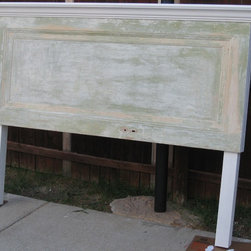 Headboards Made From Doors - Distressed king size headboard made with legs made by Vintage Headboards