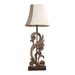 ParrotUncle - Handcrafted Carved Solid Wood Table Lamp With Square Bell Shade - Handcrafted from original solid wood,traditional classic style,this naturally-finished table lamp is carved in a graceful flowers shape. Carved solid wood table lamp with flower shape.