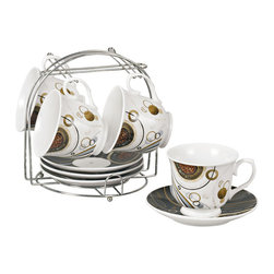 Lorren Home Trend - Coffee Bean Porcelain 9-piece Cup/ Saucer Set on Stand - Enjoy a hot cup of invigorating coffee each morning with this porcelain cup and saucer set. Featuring a contemporary coffee bean design,these crisp white cups come on a silver iron stand to keep them organized and safe.