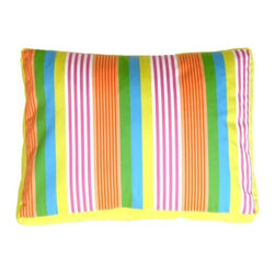 Pillow Decor - Pillow Decor - Electric Lemon Stripes Throw Pillow - Vivid stripes of magenta, citrus yellow, orange sherbet, spring leaf green, white and blue give this pillow life. This versatile rectangular pillow is stylish, accented with a citrus yellow linen box edge. The possibilities are endless with this upbeat, colorful character of a pillow.