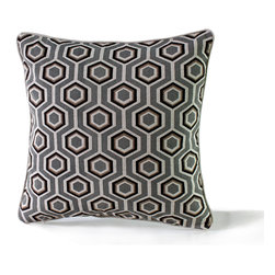 14 Karat Home - Adeline - This geometric pattern is perfect for a casual, contemporary home.  The fabric is heavy cotton; linen blend with a matching natural welting that makes a perfect finish to this special pillow.