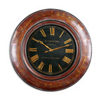 "Uttermost - Uttermost 06751 Tyrell 47"" Walnut Wall Clock - Uttermost 06751 Tyrell 47"" Walnut Wall Clock"