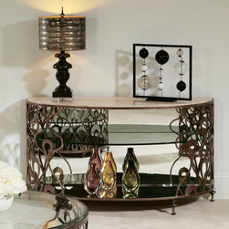 American Drew - American Drew Bob Mackie Demi-Lune Sofa Table in Brown Metal - Soft gentle shapes, unique patterns, a mixture of materials and elegant details all describe the unique elements that are synonymous with a Bob Mackie gown; and these motifs are evident in the Bob Mackie Home? Signature Collection by American Drew. The Signature collection is a fresh twist on classic designs. The inspiration and story is the creative use of materials and veneer work. The finish is a beautiful Rosewood color with veneer details in Primavera, Ebony, Walnut Burl, Mahogany and Cherry. Black Granite, Antiqued Mirror and Golden color accents add depth, drama and sparkle to this collection. Ribbon, lace, feather and starburst motifs add the 'dare to be noticed' flair to this group. Custom designed jewelry-like hardware, pierced brass collars and brass feet on selected items add a fine, finished look to each piece. - 308-925.  Product features: Soft gentle shapes, unique patterns; Fresh twist on classic designs; Travertine Top; Glass Center Shelf; Mirror Bottom Shelf. Product includes: Sofa Table (1). Demi-Lune Sofa Table in Brown Metal belongs to Bob Mackie Collection by American Drew.