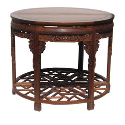 Golden Lotus - Chinese Huali Rosewood Carved Round Table - This is a traditional Chinese Huali rosewood round table combined by two half-round tables. It is a nice elegant pedestal table for room center or against the wood.