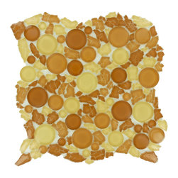 "Euro Glass - Sahara  Pebbles & Stones Orange Lagoon Series Glossy Glass - Sheet size:  approx 1 Sq. Ft.        Tile Size:  Circles        Tile thickness:  1/4""        Sheet Mount:  Mesh Backed        Sold by the sheet    -"