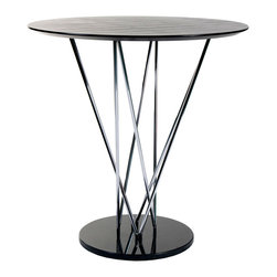 """Euro Style - Stacy Bar Table - This table makes a statement and it goes like this: """"I am strong, modern, built to last and I'm virtually indestructible"""".  It's true.  With a marble base and black veneered top this table boasts a chromed steel infrastructure that is a marvel of sturdiness and style."""