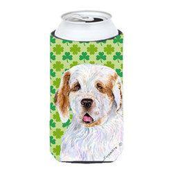 Caroline's Treasures - Clumber Spaniel St. Patrick's Day Shamrock Portrait Tall Boy Koozie Hugger - Clumber Spaniel St. Patrick's Day Shamrock Portrait Tall Boy Koozie Hugger Fits 22 oz. to 24 oz. cans or pint bottles. Great collapsible koozie for Energy Drinks or large Iced Tea beverages. Great to keep track of your beverage and add a bit of flair to a gathering. Match with one of the insulated coolers or coasters for a nice gift pack. Wash the hugger in your dishwasher or clothes washer. Design will not come off.