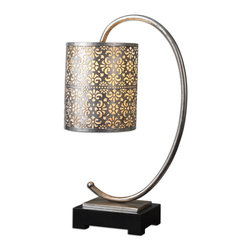 lamps - Curved metal finished in a lightly antiqued silver leaf with a matte black foot. The round drum shade is stamped metal finished in a lightly antiqued silver leaf with a mica liner.
