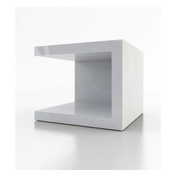 Modloft - Ludlow White Lacquer Cube Nightstand (Set of 2) - Whether you want to update your living room or bedside area, these 2 nightstands / side tables can be turned in multiple directions to create unique arrangements for any space.