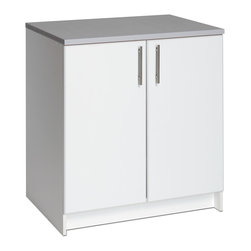"""Prepac - Prepac Elite 32 Inch Base Cabinet in Fresh White - The Elite 32"""" Base Cabinet is the perfect addition to your laundry room, workshop or garage. The 1"""" thick grey melamine countertop provides a durable work surface that will last through all your projects. With one adjustable shelf, this cabinet will accommodate anything you need to store in it. Combine it with other pieces in the Elite Collection for a customized workspace.  What's included: Storage Cabinet (1)."""