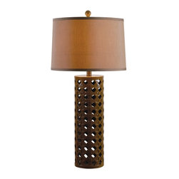 Kenroy - Kenroy KR-32272CHOC Marrakesh Table Lamp - Marrakesh showcases its Moroccan spirit in a pattern of indents and inlay adorning an openwork cylindrical base.  Available in 2 contrasting finishes.