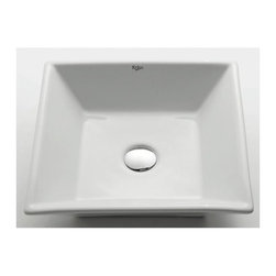 Kraus - White Square Ceramic Sink - Pop Up Drain & Mounting Ring Not Included