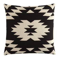 Jacquard-Weave Cushion Cover, Black/Patterned
