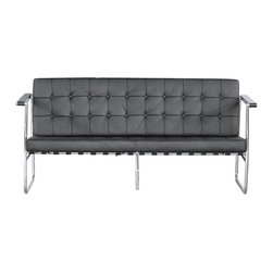 Lemoderno - Fine Mod Imports  Celona Sofa, Black - The Celona Sofa we are selling was made with the highest quality possible using premium stainless steel tubeing which is hand made using classic welding and bending techniques. The leather is fine 100% soft leather Each square leather is hand selected, piped, tufted and individually sewn by expert leather craftsmen. The cushions rest upon a suspended network of saddle fine leather belt straps. Stainless Steel Polished Frame made from one piece    Assembled