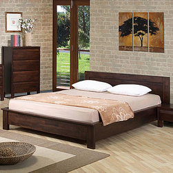 None - Alsa Queen Platform Bed - This Alsa platform bed is ideal for the bedroom in need of a fresh new look. Designed for use without a box spring, this queen size bed is modern and attractive.