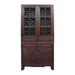 Golden Lotus - Vintage Chinese Stack Curio Kitchen Cabinet - This tall cabinet is described as kitchen cabinet because it was used as storage of food in the kitchen at the old Chinese time. This one is more special with the open panel style doors.